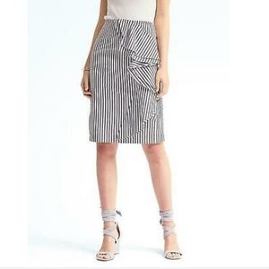 Banana Republic Striped Cascading Pencil Skirt